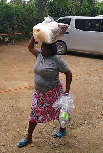 Woman with relief package