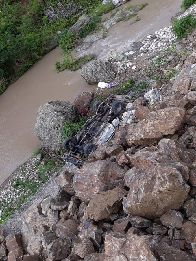Rock slide accident.