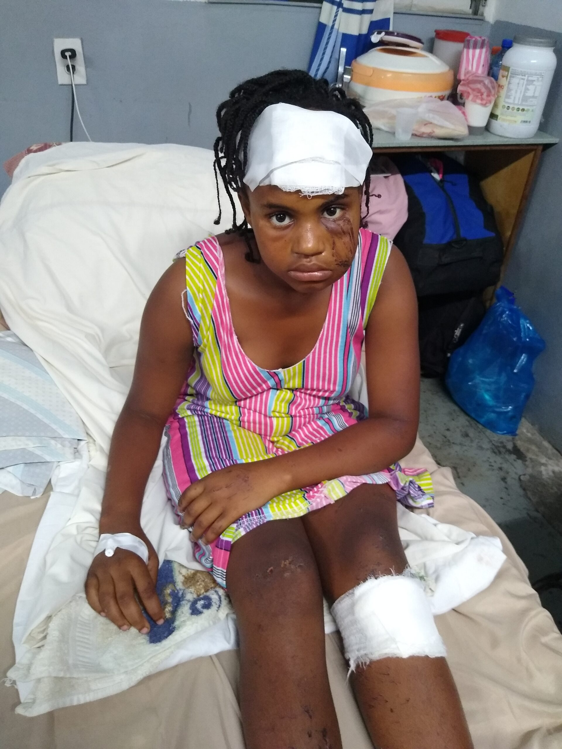 Injured child at the Cayes clinic