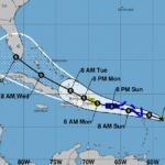 Projected path of Tropical Storm Grace